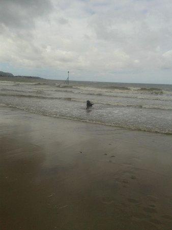 Rhos-on-Sea Beach: enjoying the sea