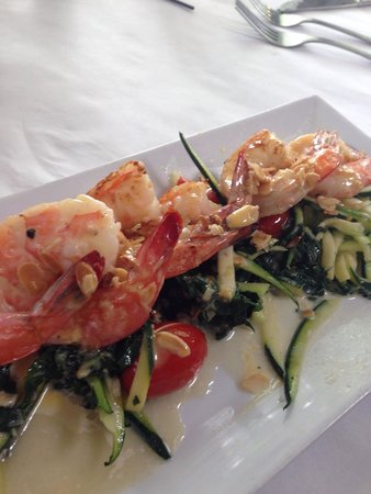 Martine's Restaurant: Shrimp with Swiss chard and julienne zucchini.