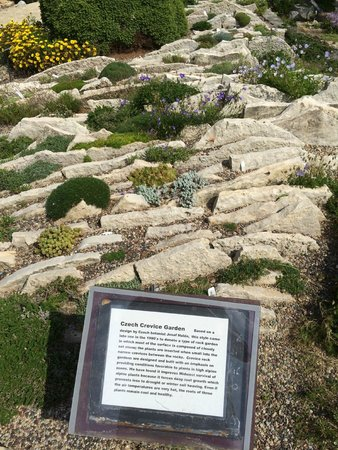 Allen Centennial Gardens: Czech garden with vertical flagstone slabs and pea gravels