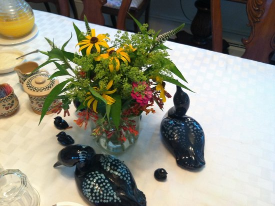 Among the Lakes Bed & Breakfast: Centerpiece on the breakfast table.  The women who own the inn and decorated it love loons (as d