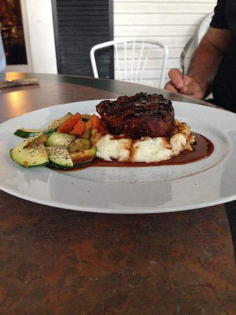 Riverhouse Grill: Fillet with mash potatoes and grilled veggies.