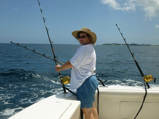 Stanley's Deep Sea Fishing: My wife with a fishing rod