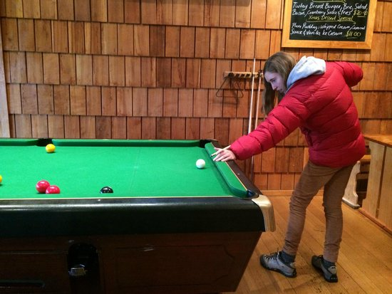 Peppers Cradle Mountain Lodge : Billiards table near the fireplace in the Tavern.