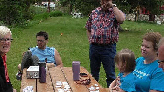 Grizzly Lodge: Playing some games on the green.