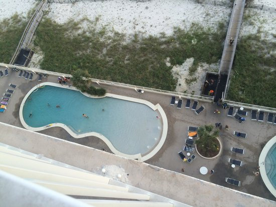 The Lighthouse Condominiums: looking down from balcony to east pool