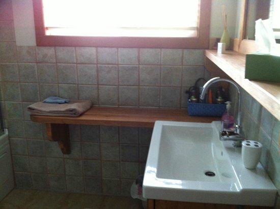Solace on the Mountain Bed & Breakfast: Bathroom vanity had heaps of room, the bathtub was deep
