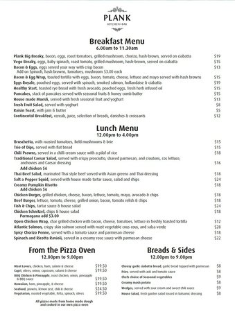 plank kitchen and bar: Breakfast and lunch menu