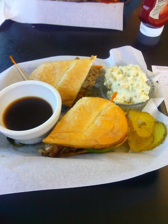 The Diner at Seal Rock: Beef Steak sandwich w/ Au Jus & potato salad