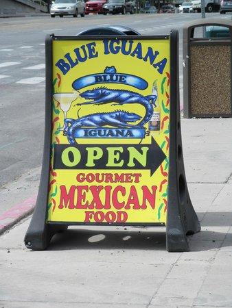 Blue Iguana: Direction sign