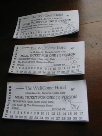 Wellcome Hotel: 早餐券