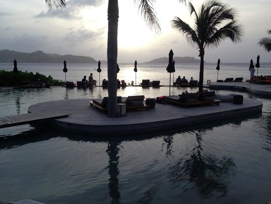 Christopher St Barth: pool at sunset
