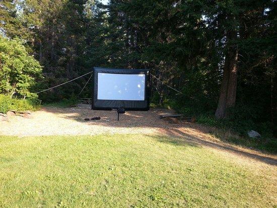 Thousand Trails: Outdoor movie Saturday nights.