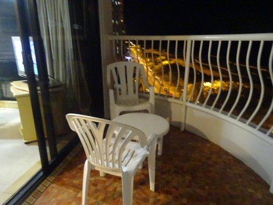 Olympus Apartments: Balcony at night