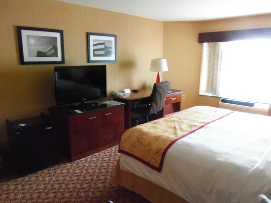 McCamly Plaza Hotel: Nice LCD and desk