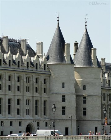 Here you can see two towers with their cone shaped roofs which are part of the La Conciergerie.