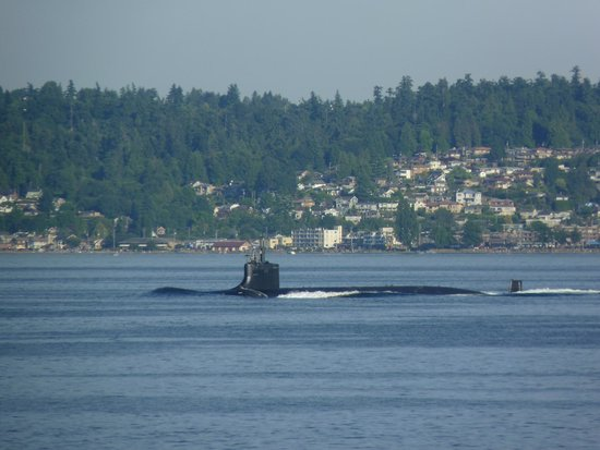 Kenmore Air: YES, that is a nuclear sub passing by my ferry!  Awesome!
