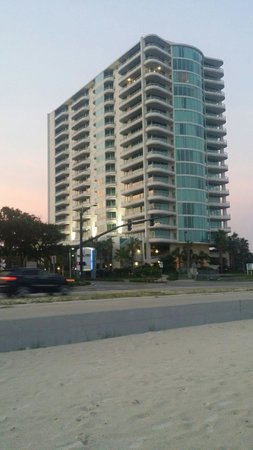 Ocean Club at Biloxi: The view of the hotel from across the street on the beach.