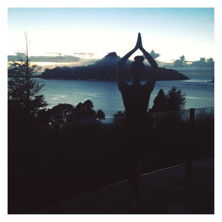 Sunlover Retreat: Early morning yoga with the amazing view of Paku hill