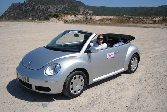 Kipriotis Village Resort: Our rented car, a Volkswagen Beetle Cabrio