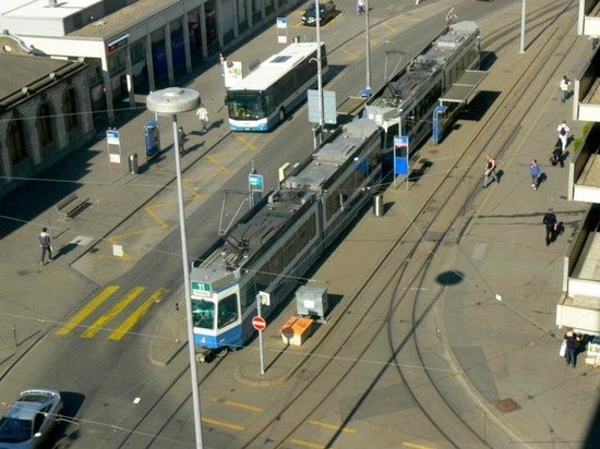 Swissotel Zurich: View from my room is the trams passing by
