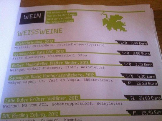 Heurigenbuffet Zum Gschupftn Ferdl: Weinkarte