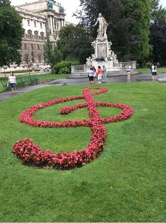 Treble Clef in front of Mozart statue.