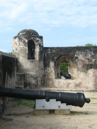 """Fort Jesus Museum: One of the watchtowers facing the harbour on the """"Gun Platform"""""""