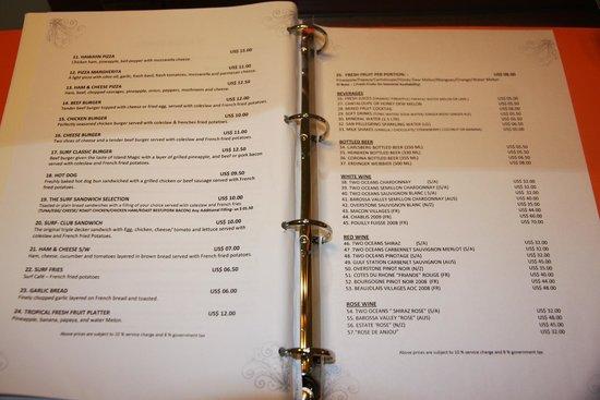 Fihalhohi Island: In room menu