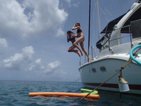 Nevis Yacht Private Charters: Fun jumping from the boat