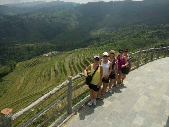 Yangshuo Private Tour-Day Tour : Heather sisters at Dazhai terraces area.
