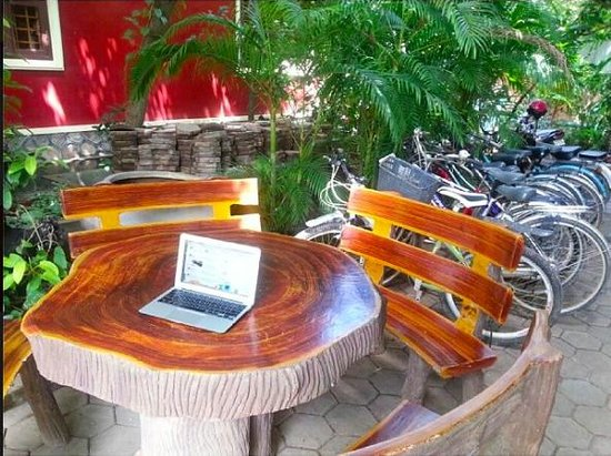 Bou Savy Guest House : Cute garden set beside the bikes for rent