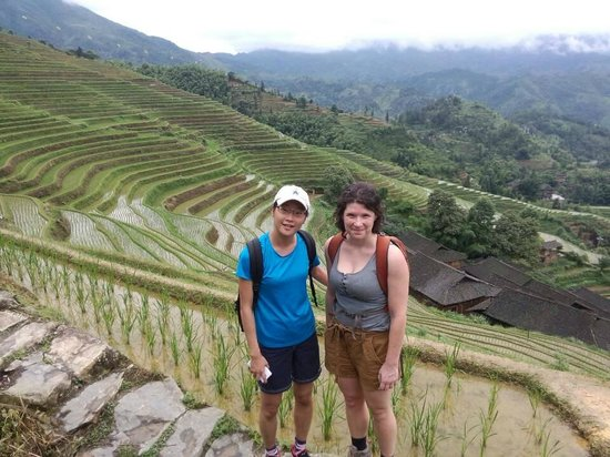 Yangshuo Private Tour-Day Tour : Rachel and freind at Rice terraces area.