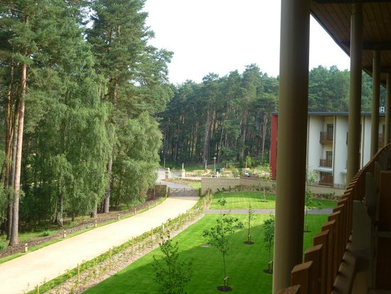 Center Parcs Woburn Forest: View from balcony towards the road leading to swimming paradise