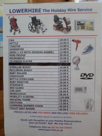 Club Cala Romani: items to hire