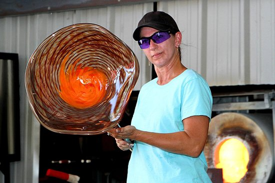 Chihuly Collection: After an hour of painstaking work and detail, a finished work of art at the Glass Hot Shop.