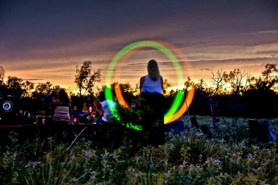 Wildcat Bluff Nature Center: light art at sunset drum circle