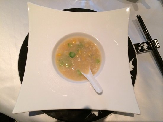 The Mira Hong Kong: Overpriced, tiny serving of chicken and corn soup.