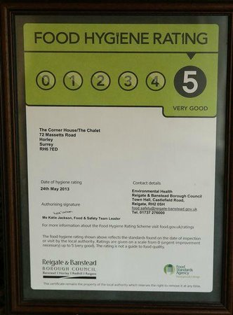 Gatwick Corner House Hotel: Food Hygiene award for The Corner House