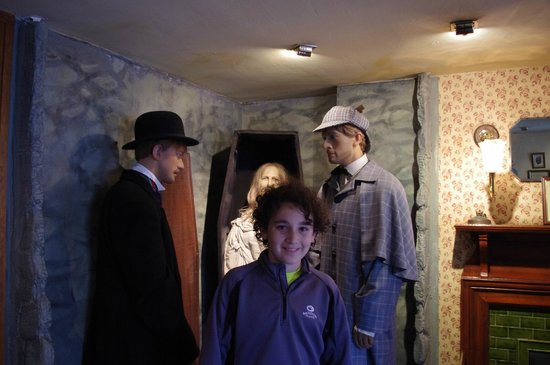 Sherlock Holmes Museum: My son next to Watson and Sherlock