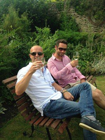 The Talbot Inn: The boys enjoying a drink in the lovely gardens