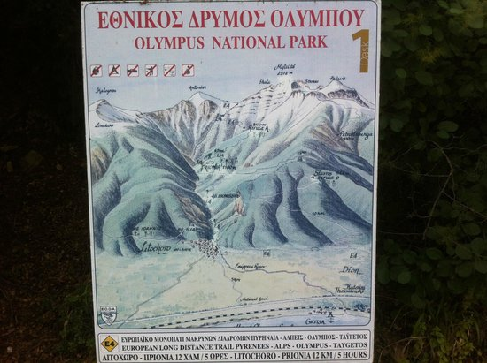 To Palio Litohoro: The map of Olympus National Park