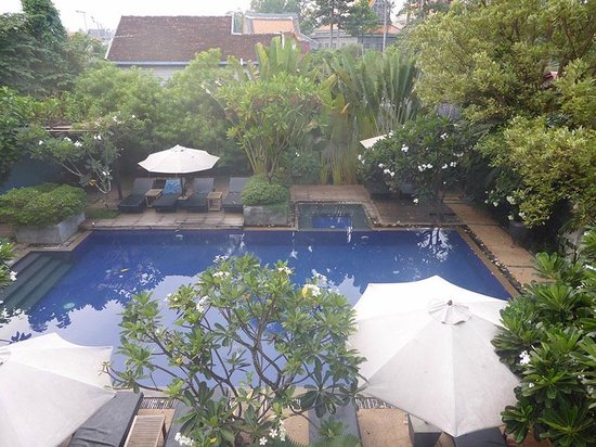 Frangipani Villa Hotel, Siem Reap: view of pool from our room/balcony