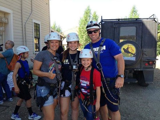 Zip Adventures of Vail: Family fun!  getting suited up to go...