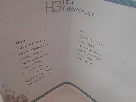 Hotel Giancarlo: Esempio di un menù