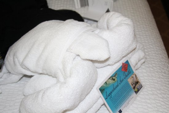 Residence Inn Charleston Downtown/Riverview: Towel turtle welcoming us to our room