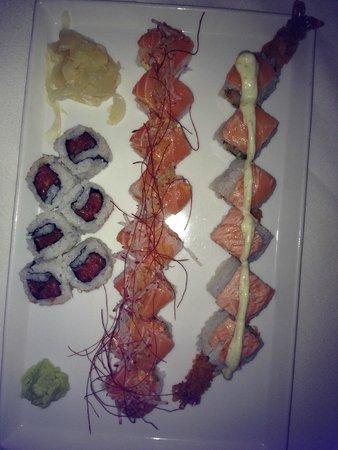 Japonais at the Mirage: Right to left is - spicy tuna, tuna tuna salmon, & crispy shrimp salmon