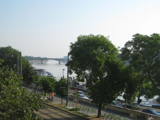 art'otel budapest: Early morning view of river from our balcony, 2nd floor.
