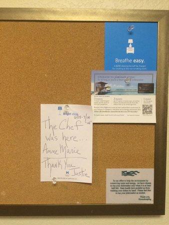 HYATT house Boston/Waltham: Thank you note to Justin