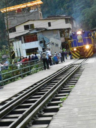 PeruRail - Vistadome: LLegada del tren a la estación de Aguas Calientes