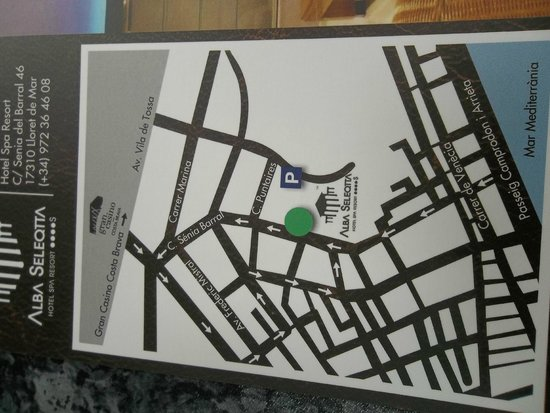 Hotel Alba Seleqtta: map of hotel location on their postcard
